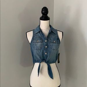 Bebe Tie Front Denim Shirt
